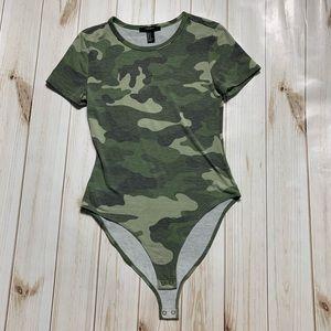 Green Camouflage Forever 21 Bodysuit Short Sleeve